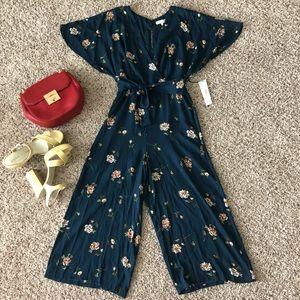 June & Hudson Blue Floral Jumpsuit M
